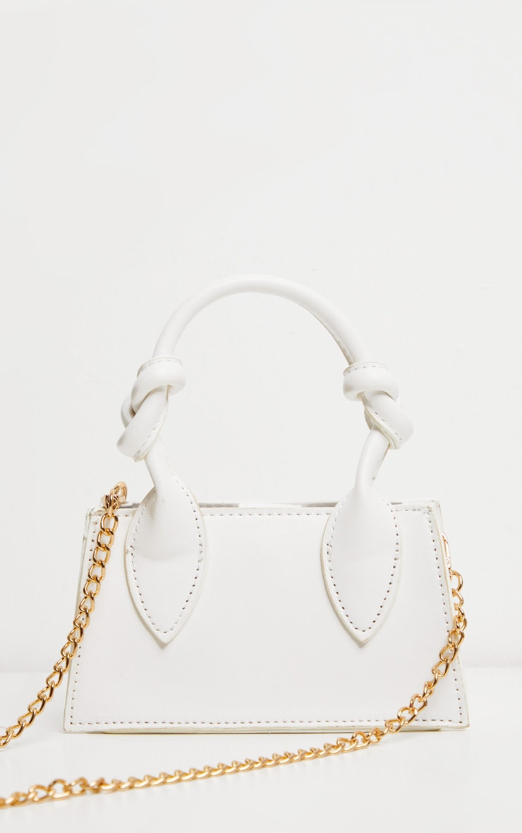 White PU Knotted Single Handle Cross Body Bag 2