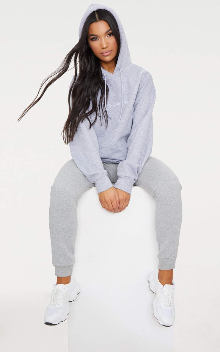 PRETTYLITTLETHING Ash Grey Marl Embroidered Oversized Hoodie 4