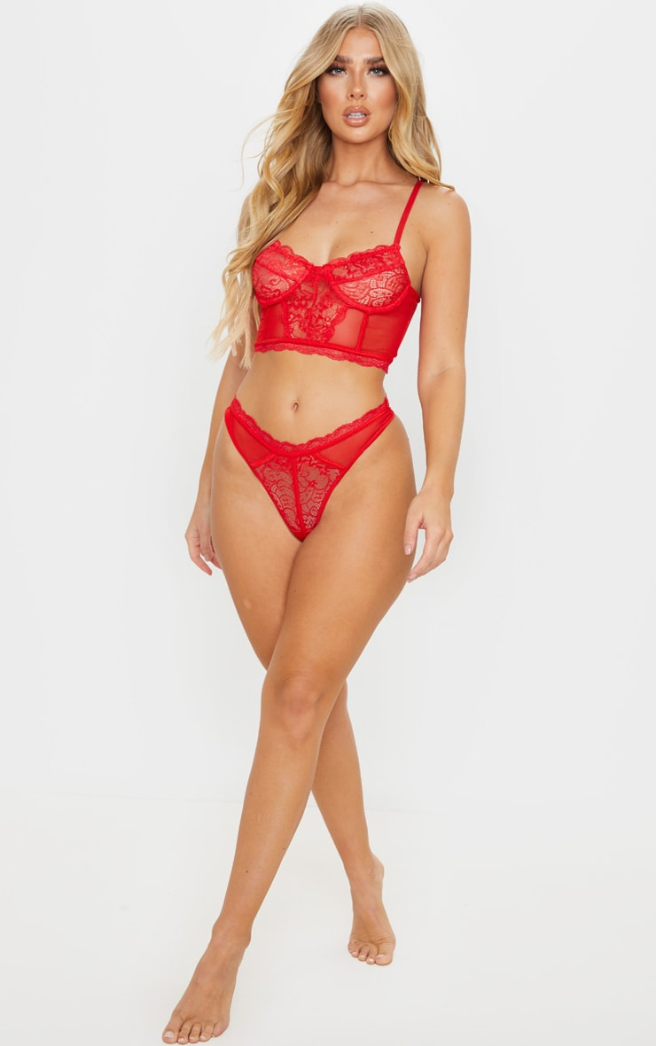 Red Lace Mesh Thong 4