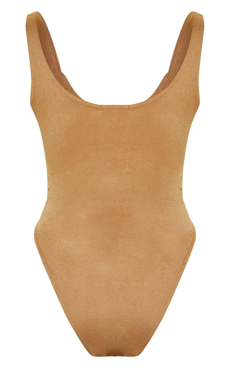 Camel V Cut Sleeveless Bodysuit 4
