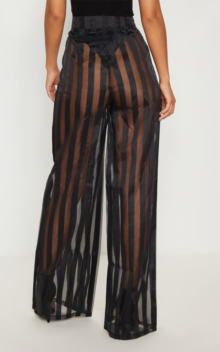 Black Sheer Stripe Wide Leg Trouser 4