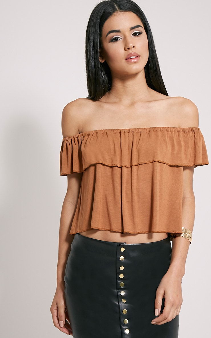 Alice Tan Bardot Frill Jersey Crop Top 1