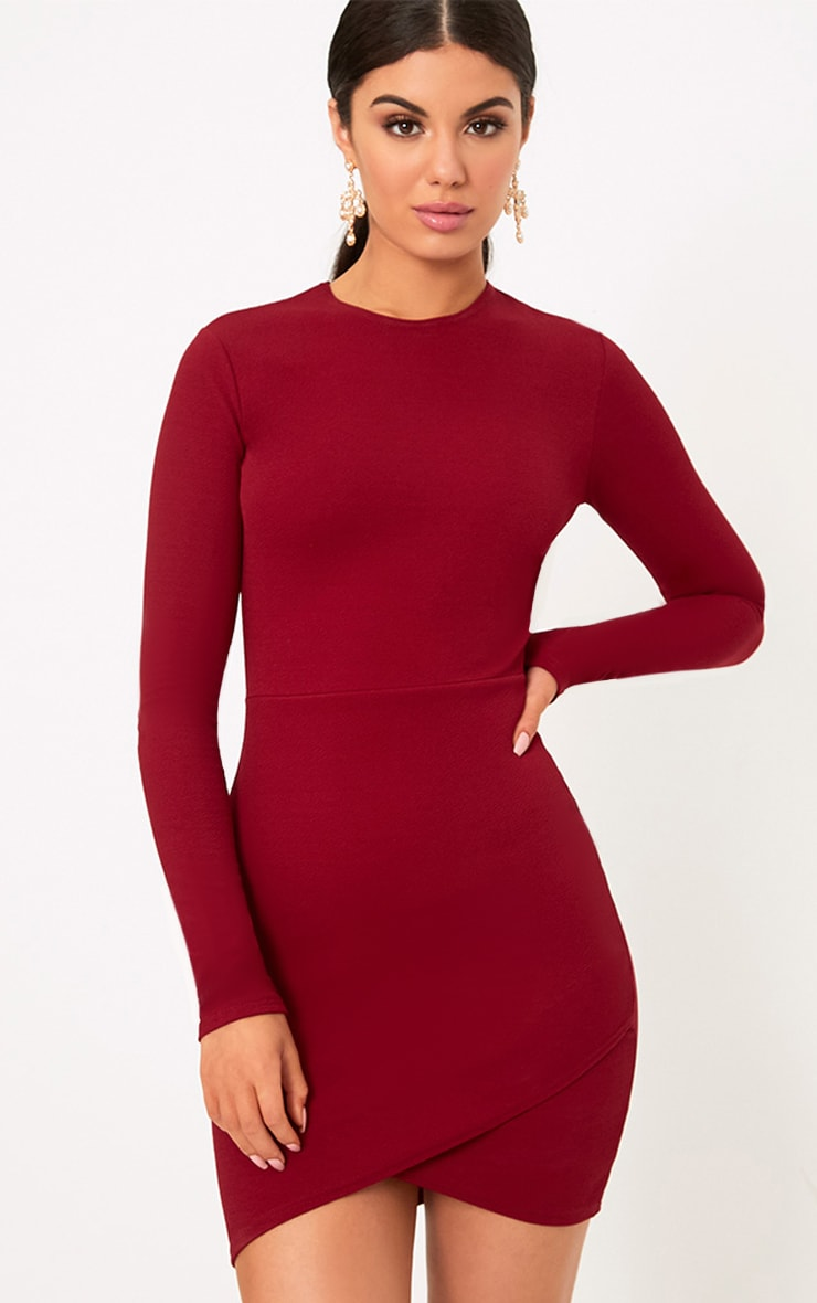 Burgundy Long Sleeve Wrap Skirt Bodycon Dress
