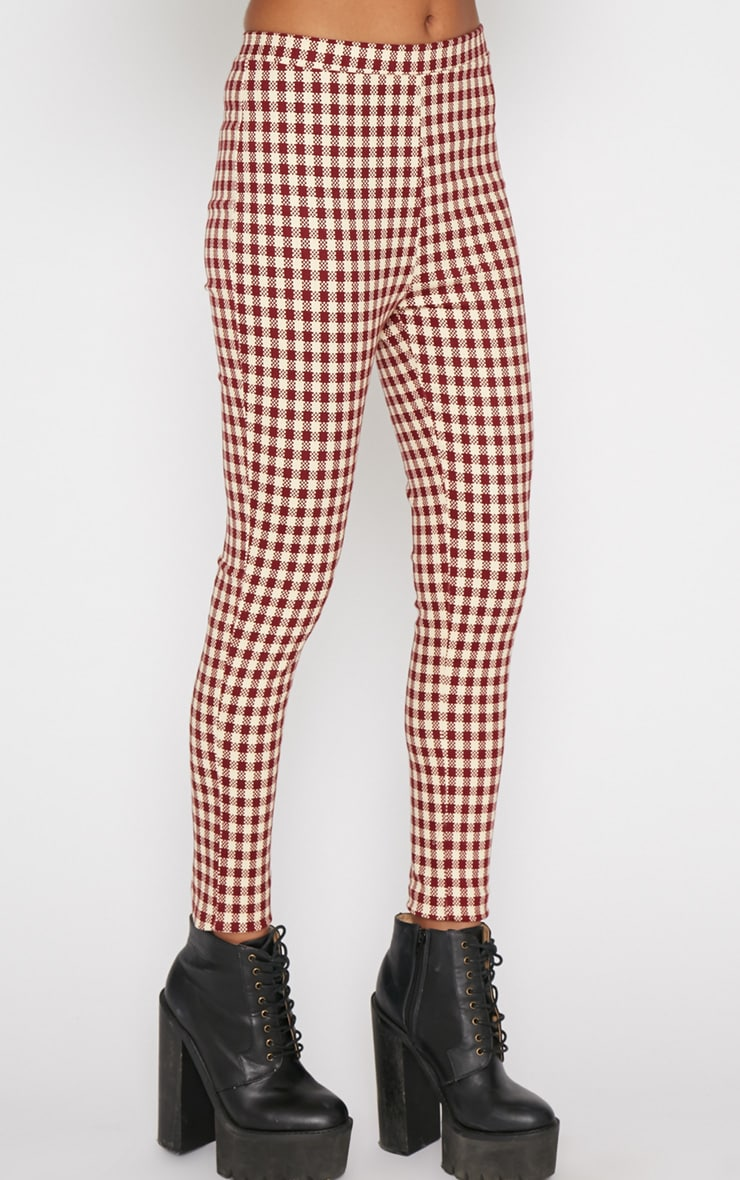 Libby Red Checked Skinny Trouser 4