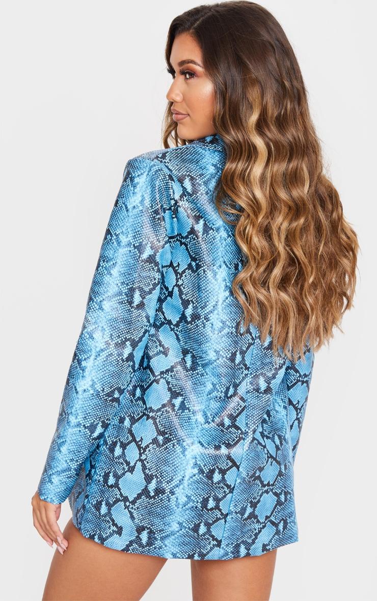 Blue PU Snake Oversized Blazer 2