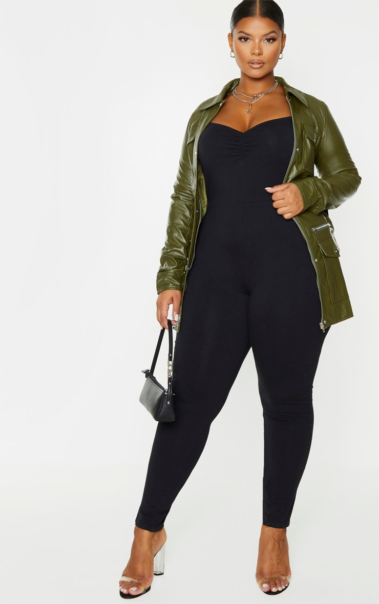 Plus Black Cotton Ruched Bust Jumpsuit 1