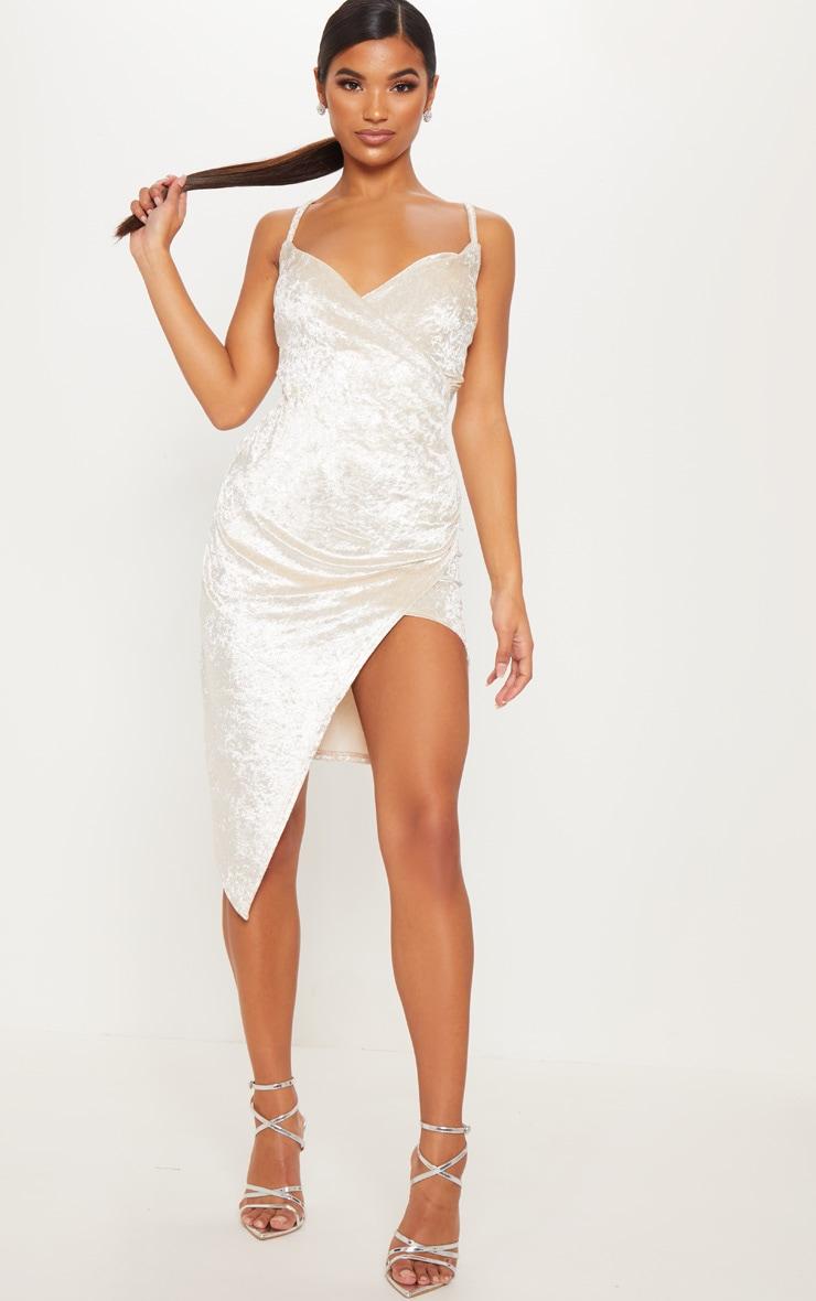 8c1c30273a Champagne Velvet Wrap Front Midi Dress image 1