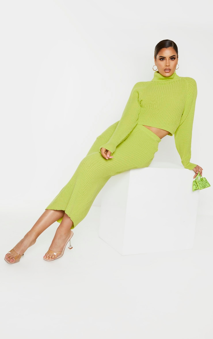 Tall Neon Green Roll Neck Cropped Knitted Sweater 4