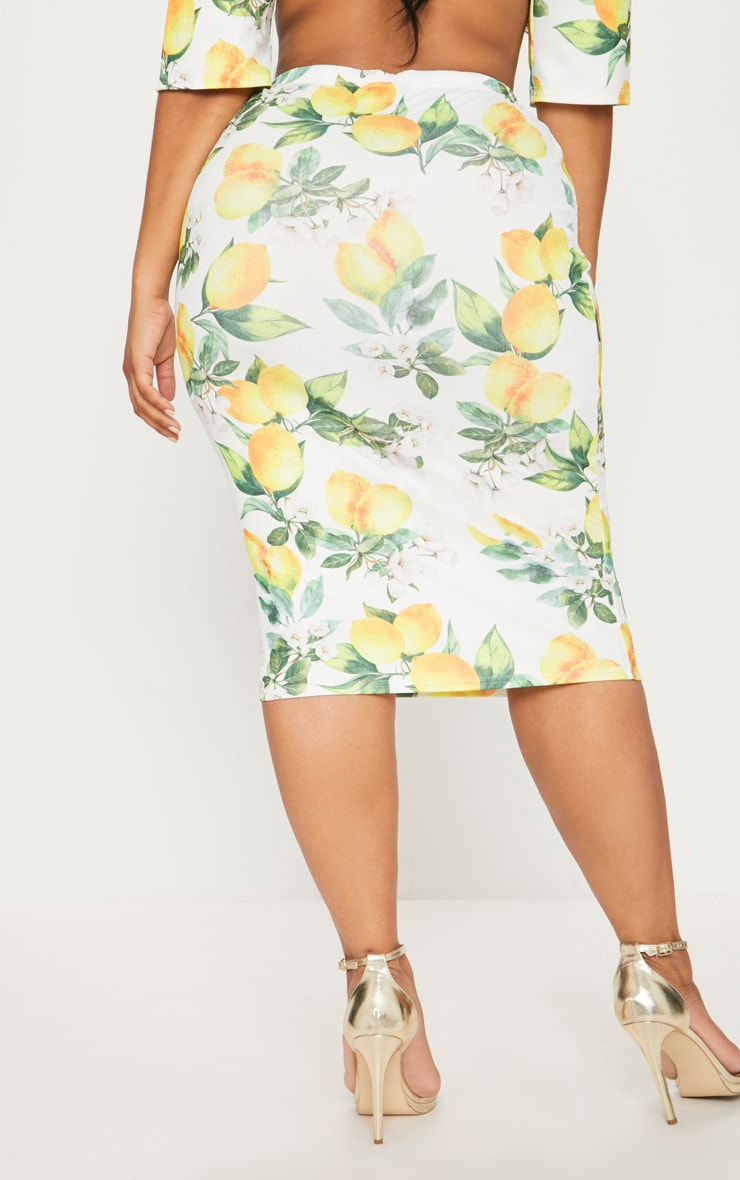 Plus White Lemon Print Midi Skirt 4