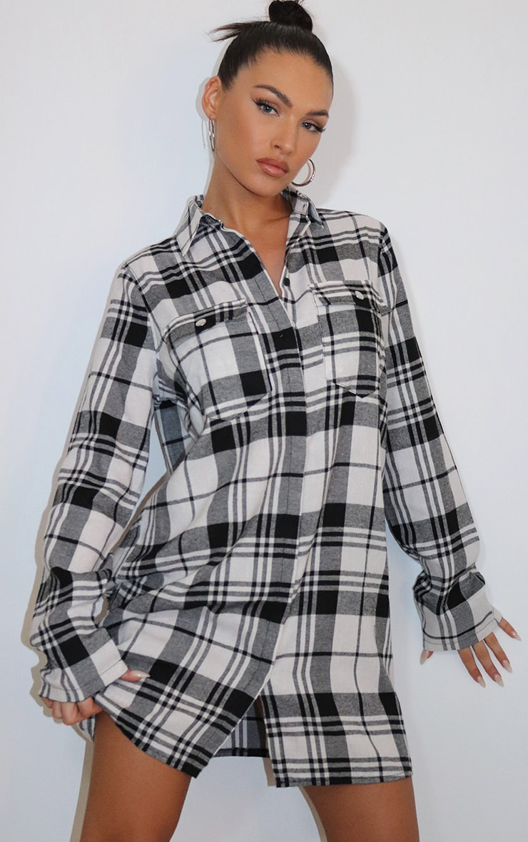 Black Oversized Check Shirt Dress 1