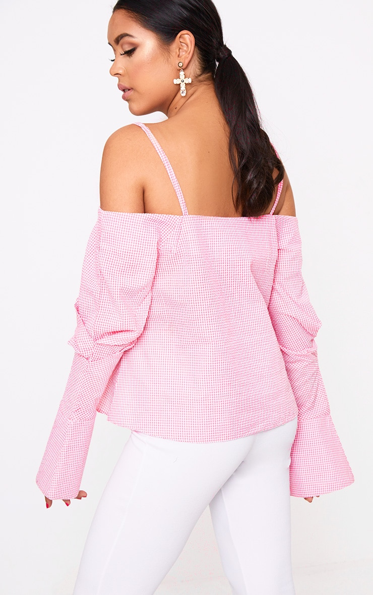 Pink Gingham Check Cold Shoulder Cuff Shirt 2