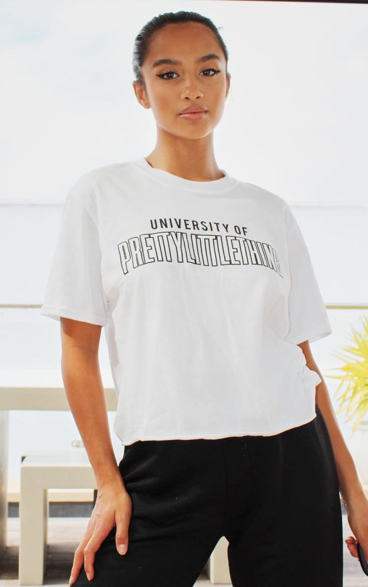 PRETTYLITTLETHING White University Cropped T shirt 1