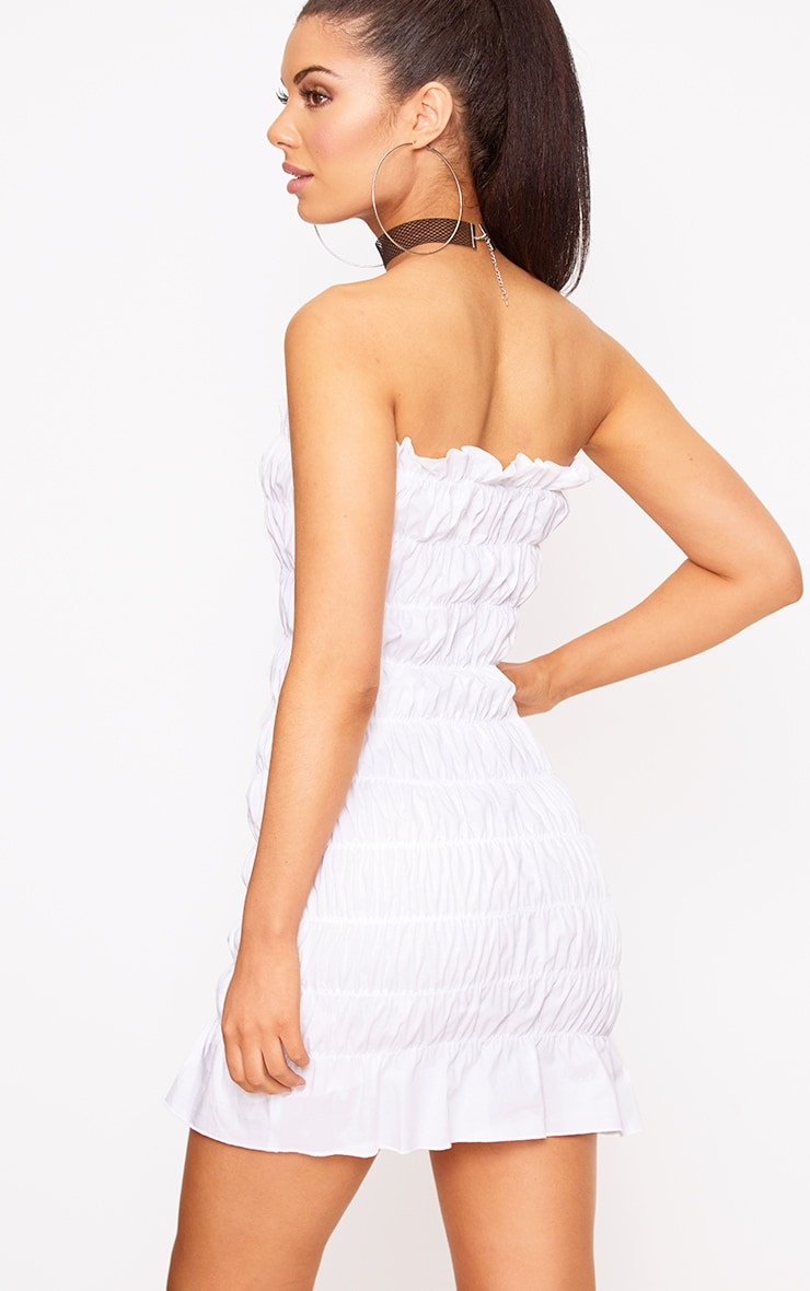 White Cotton Ruched Bodycon Dress 2