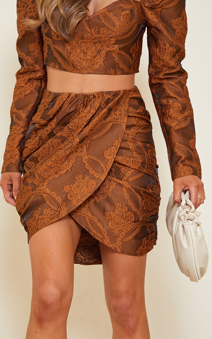 Camel Structured Embossed Jacquard Panel Front Puff Mini Skirt 5