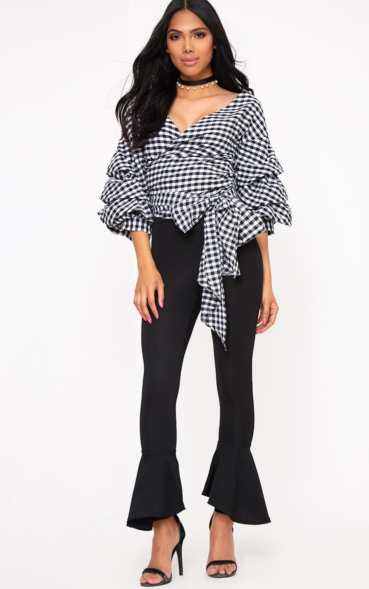Marlow Black Gingham Oversized Ruffle Sleeve Low Shoulder Shirt 4