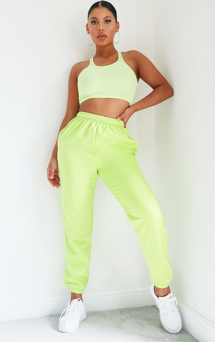 Bright Green Casual Joggers 1