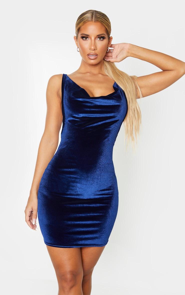 Navy Velvet Cowl Neck Bodycon Dress 1