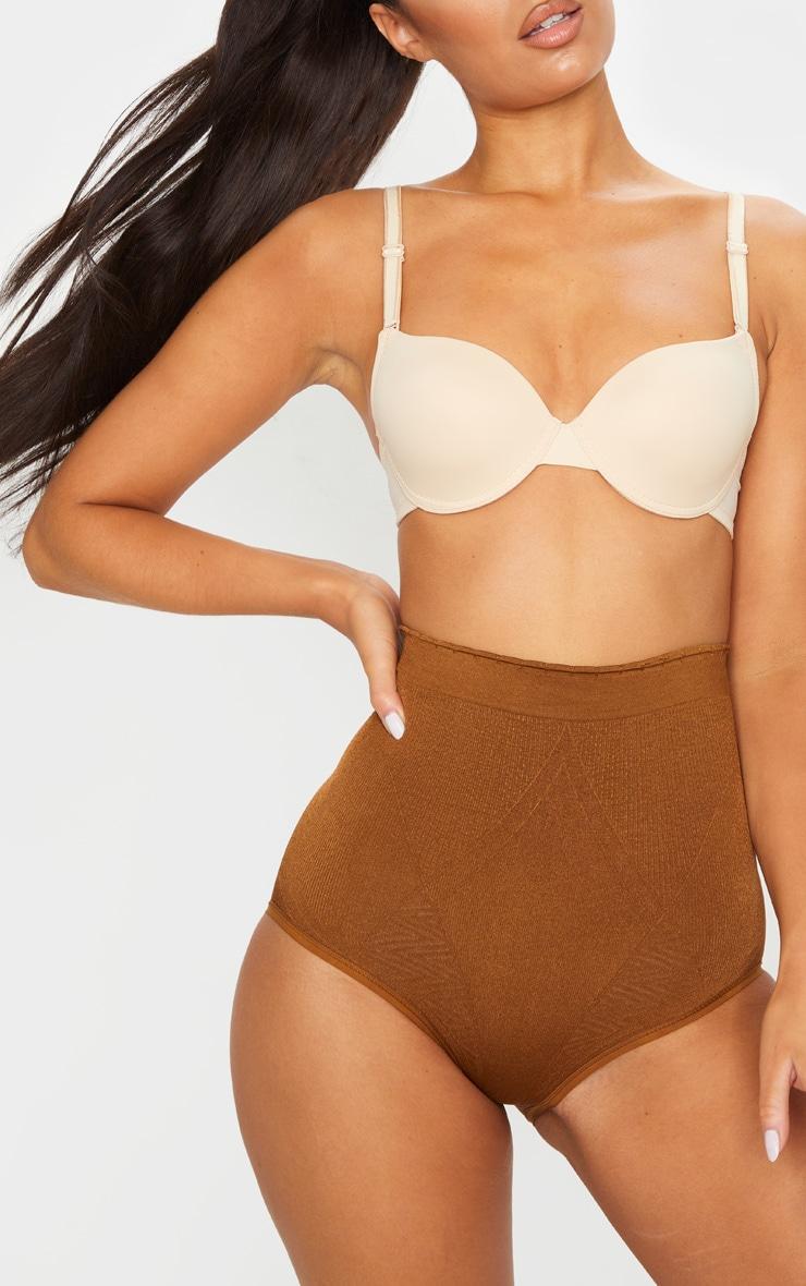 Brown Panelled Bum Lift Shapewear Panties 6