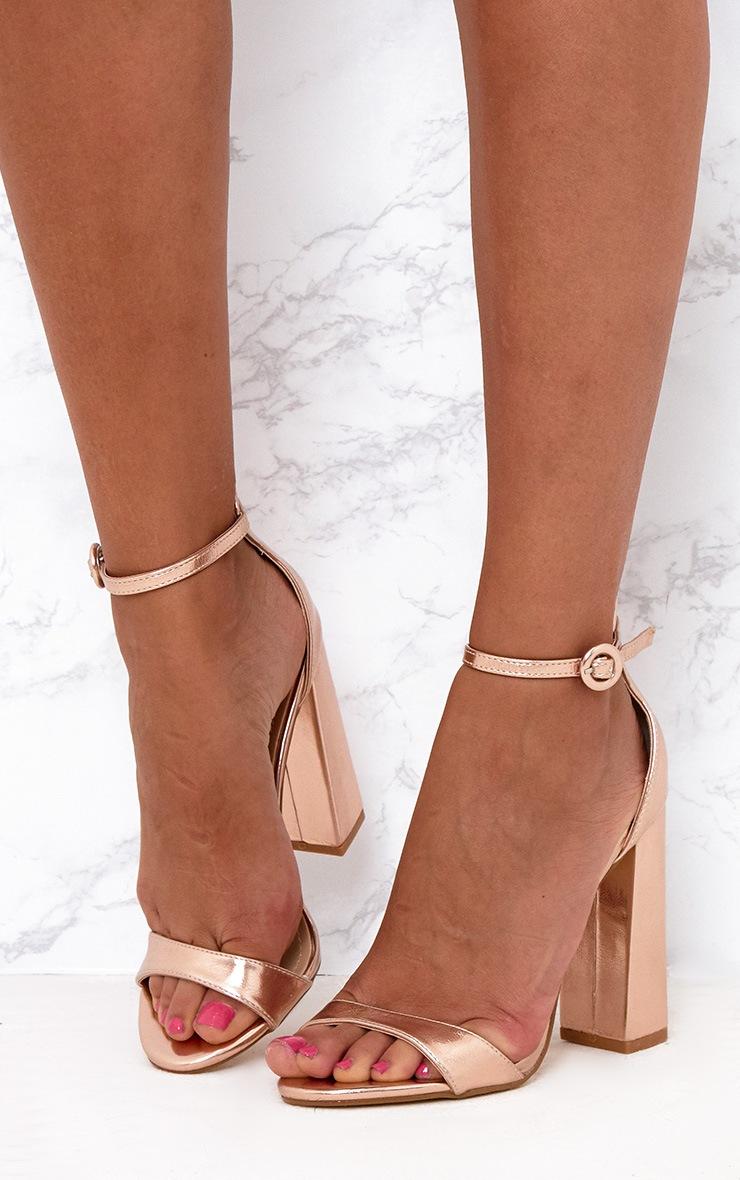 Rose Gold PU Block High Heeled Sandals 2
