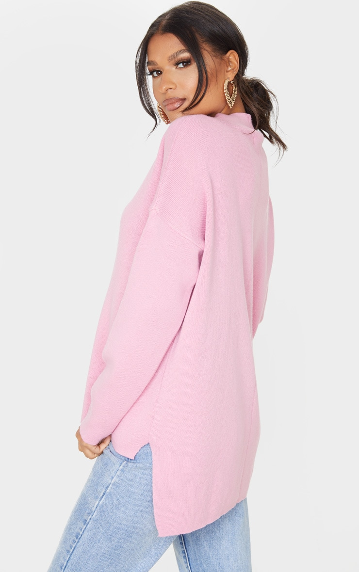 Pink Funnel Neck Dropped Hem Sweater 2