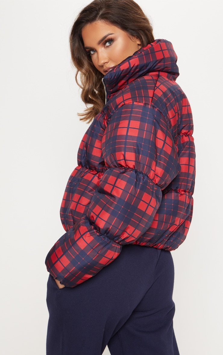 Navy Checked Puffer 2