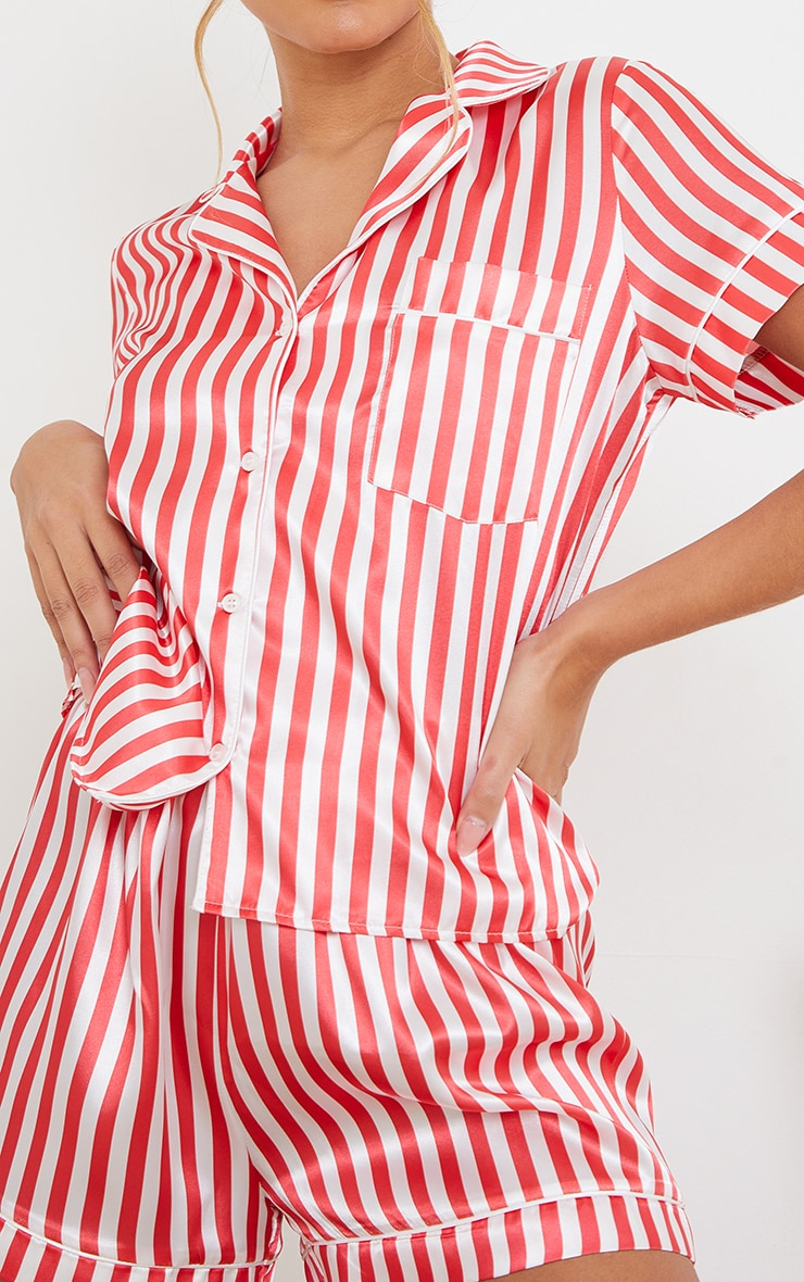 Red Stripe Satin Short PJ Set 4