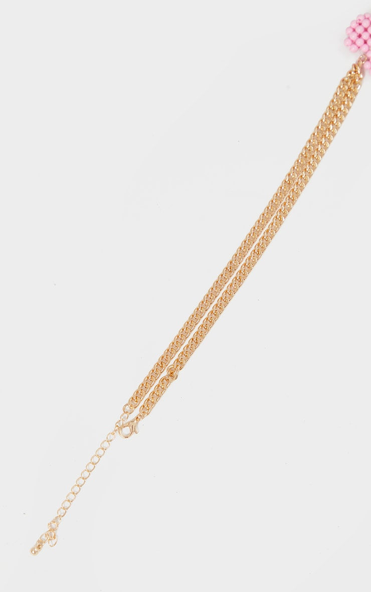 Gold Chain Pink Beaded Heart Necklace 4