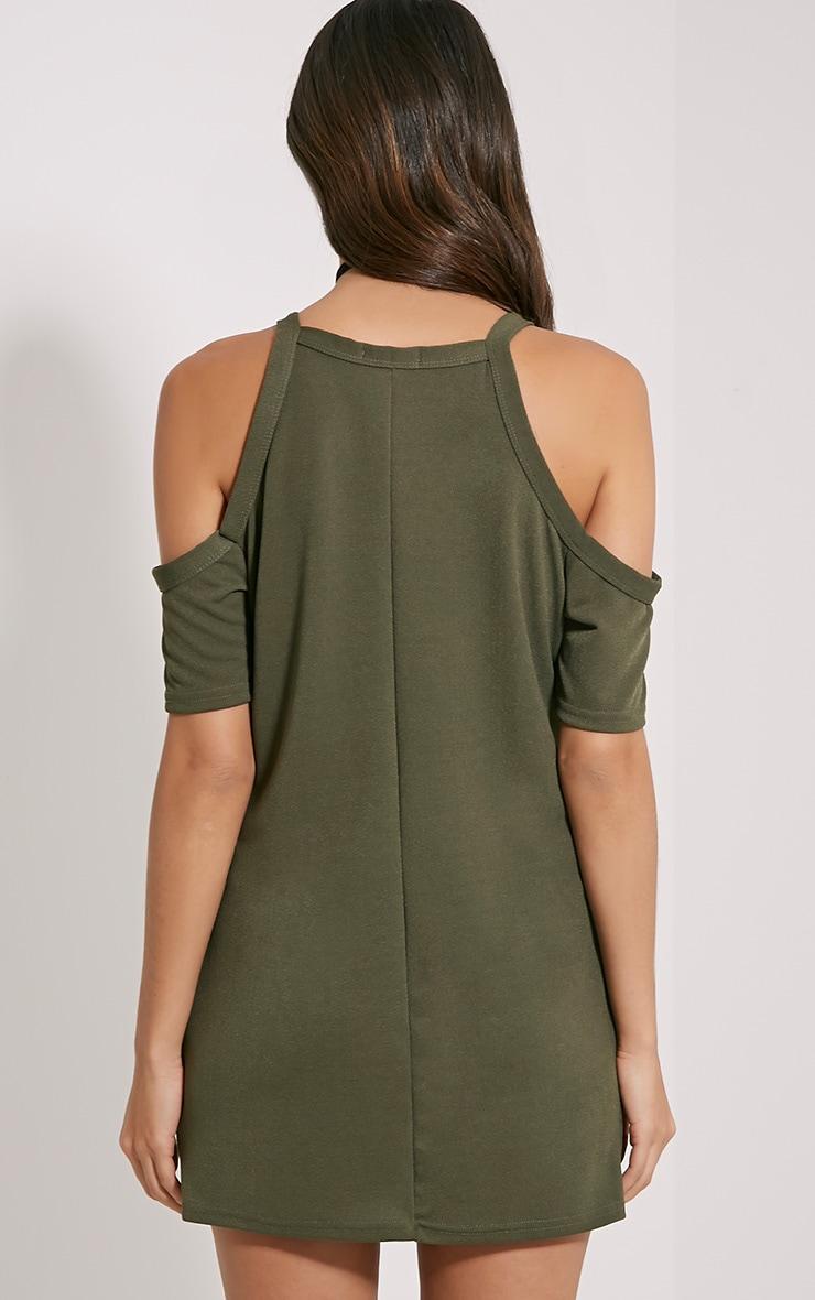 Nola Khaki Cut Out Shoulder Dress 2