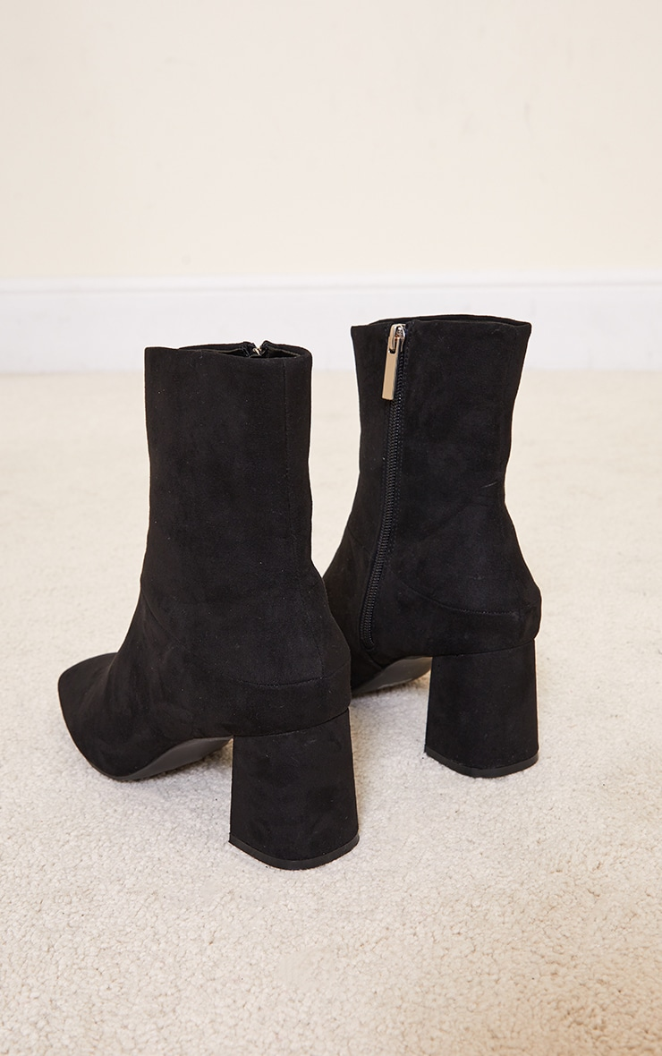 Black Faux Suede Low Heeled Ankle Boots 4