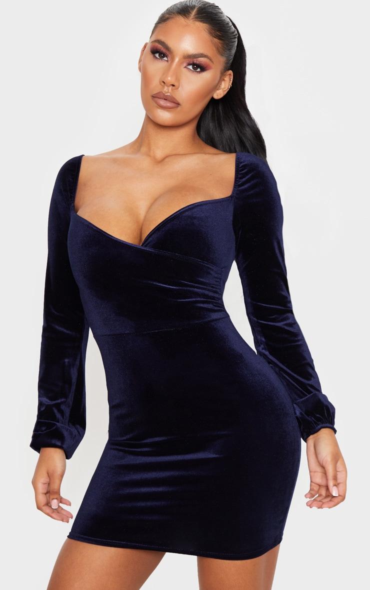 Navy Velvet Long Sleeve Wrap Over Front Bodycon Dress 1