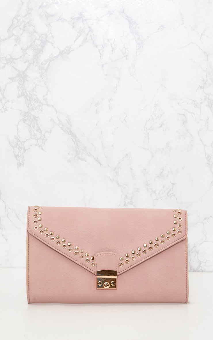 Pink Eyelet and Stud Lockable Clutch 2