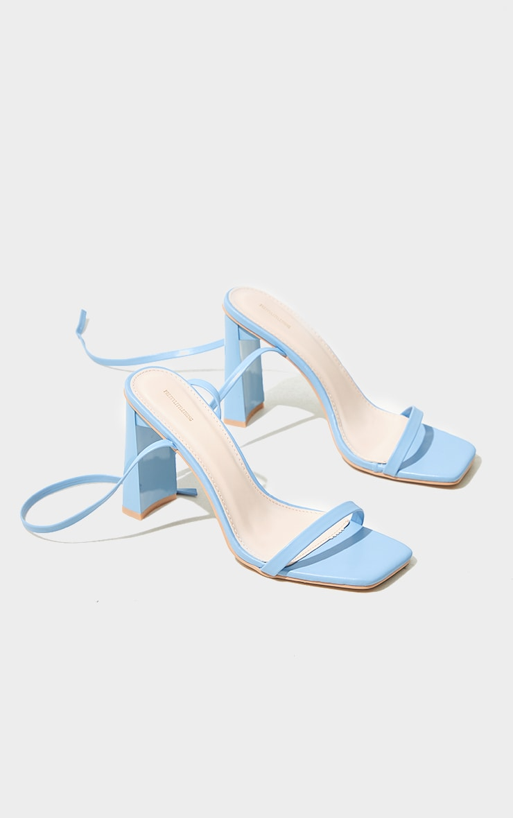 Pastel Blue PU Block Heel Barely There Sandals 3