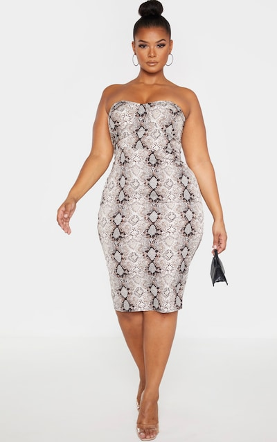 Plus Taupe Snake Print Corset Midi Dress
