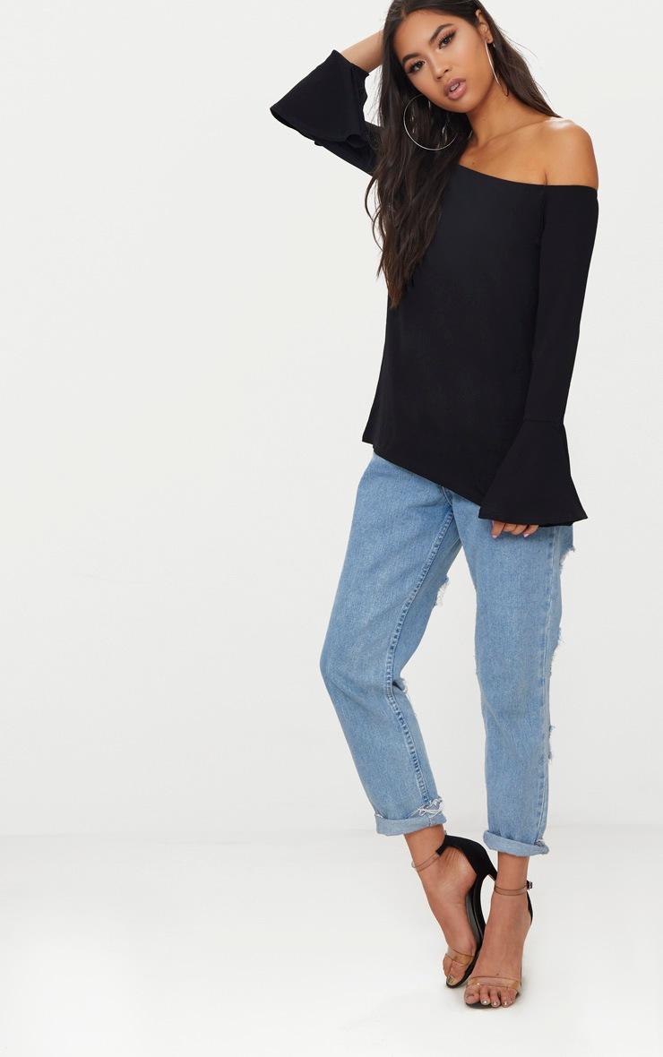 Black Chiffon Long Sleeve Bardot Top 4