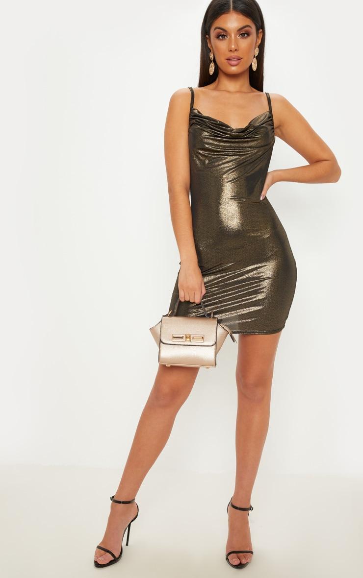 Gold Strappy Cowl Metallic Bodycon Dress 3