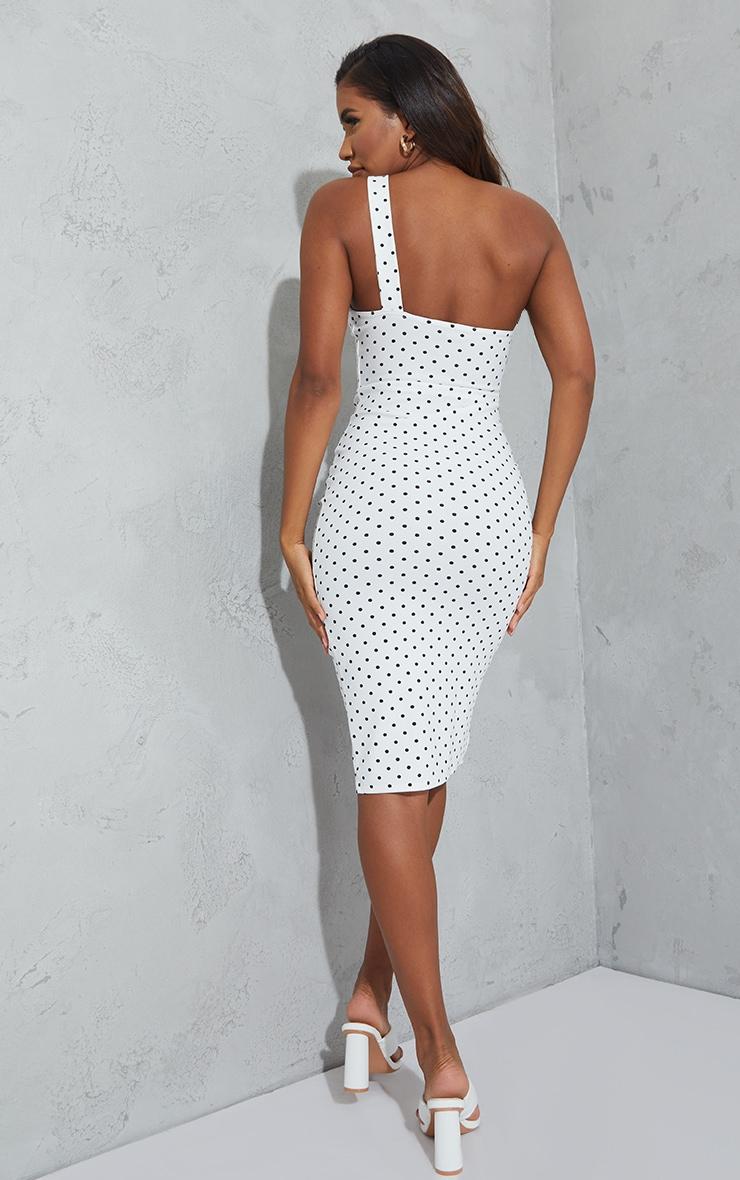 White Polka Dot One Shoulder Ruched Detail Midi Dress 2