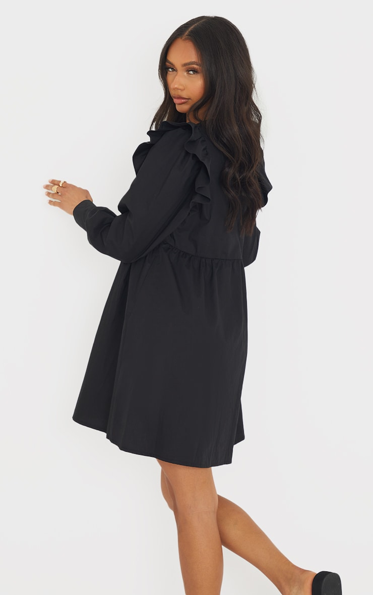 Black Woven Frill Sleeve Pleated Detail Shirt Dress 2