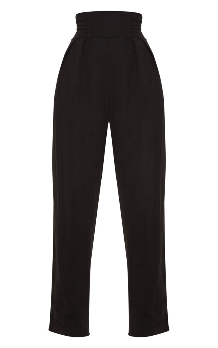 Black Ruched Waist Sweat Pants 3