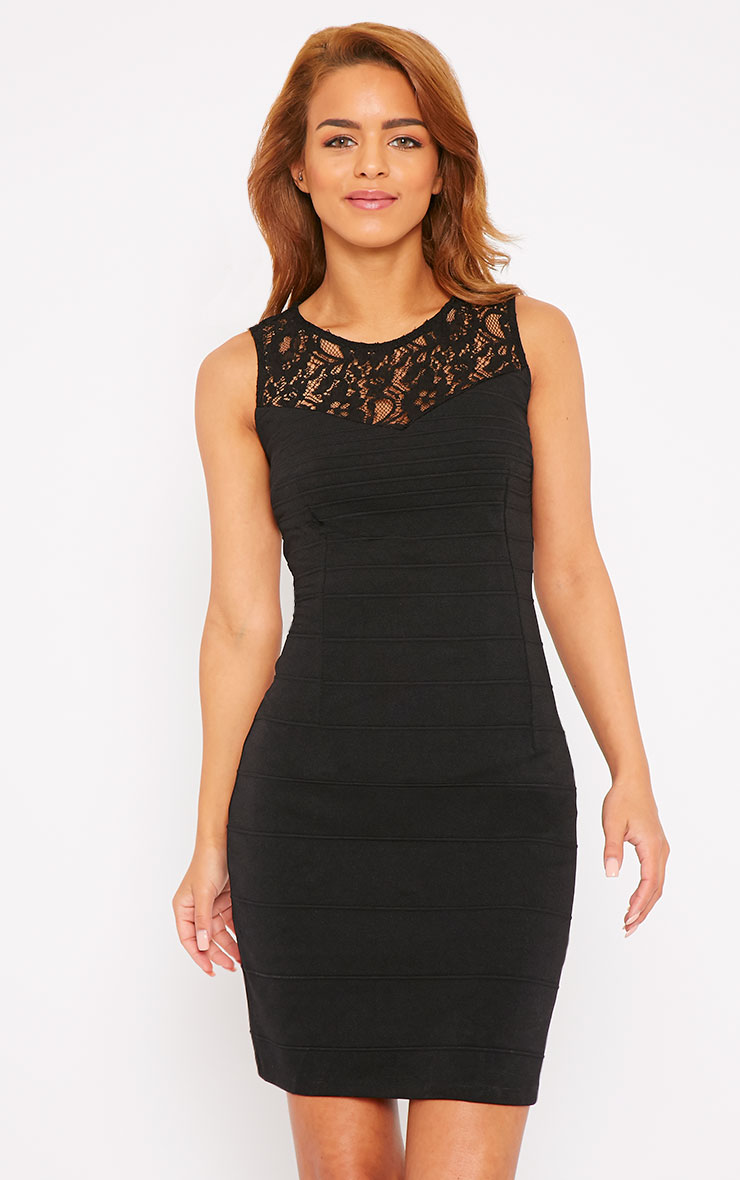 Primrose Black Lace Top Bandage Dress 2