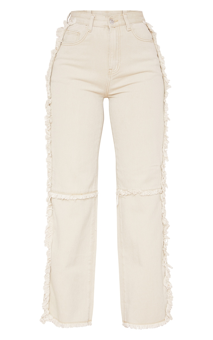 Washed Stone Wide Leg Seam Detail Jeans 5