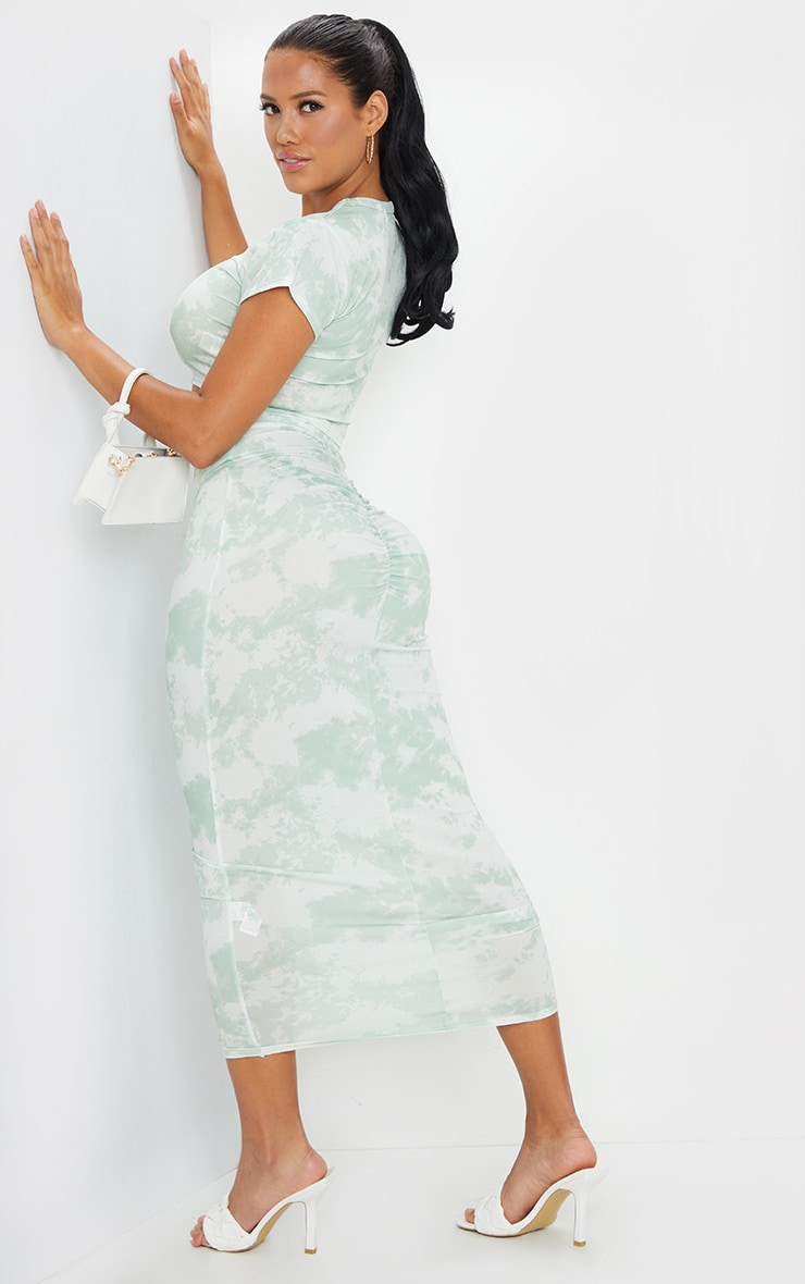 Shape Sage Green Tie Dye Ruched Bum Maxi Skirt 1