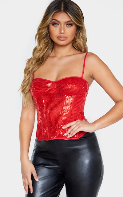 Red Sequin Structured Corset Top