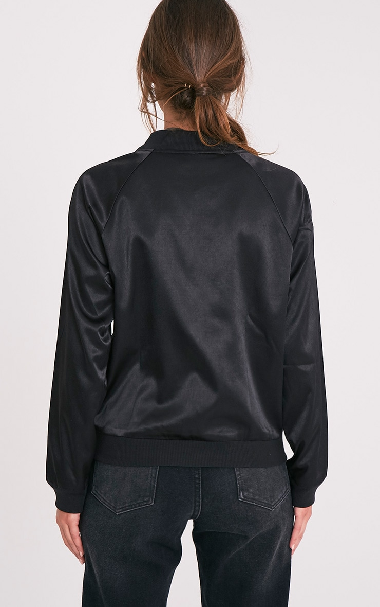Challah Black Satin Applique Bomber Jacket 2
