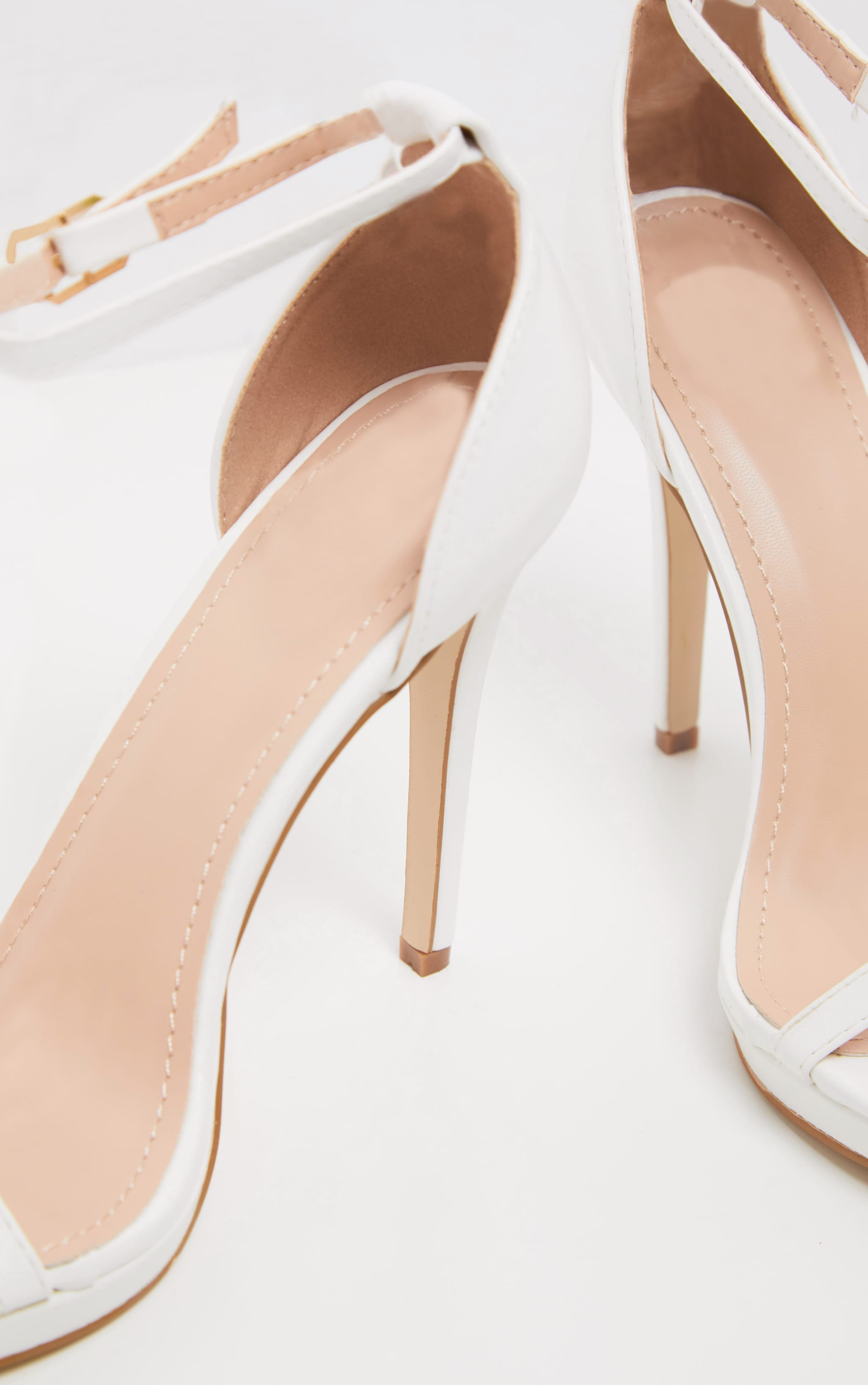 Enna White Single Strap Heeled Sandals 4