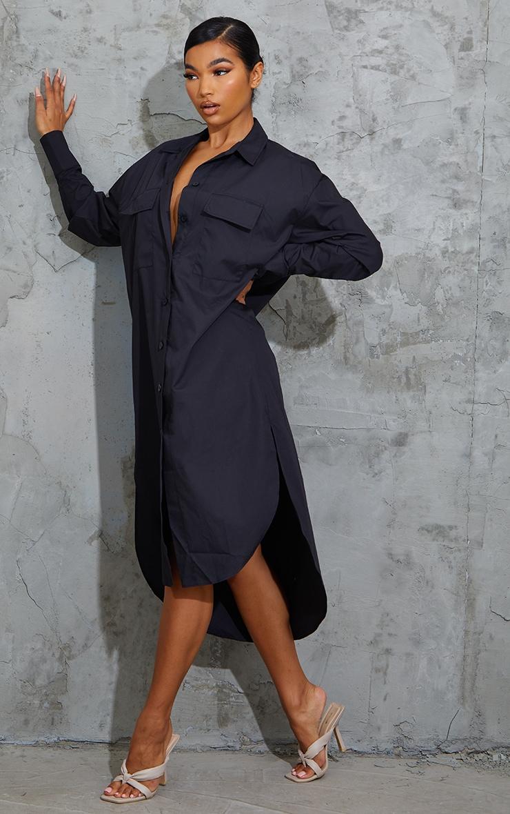 Black Deep Pocket Drop Hem Midi Shirt Dress 3