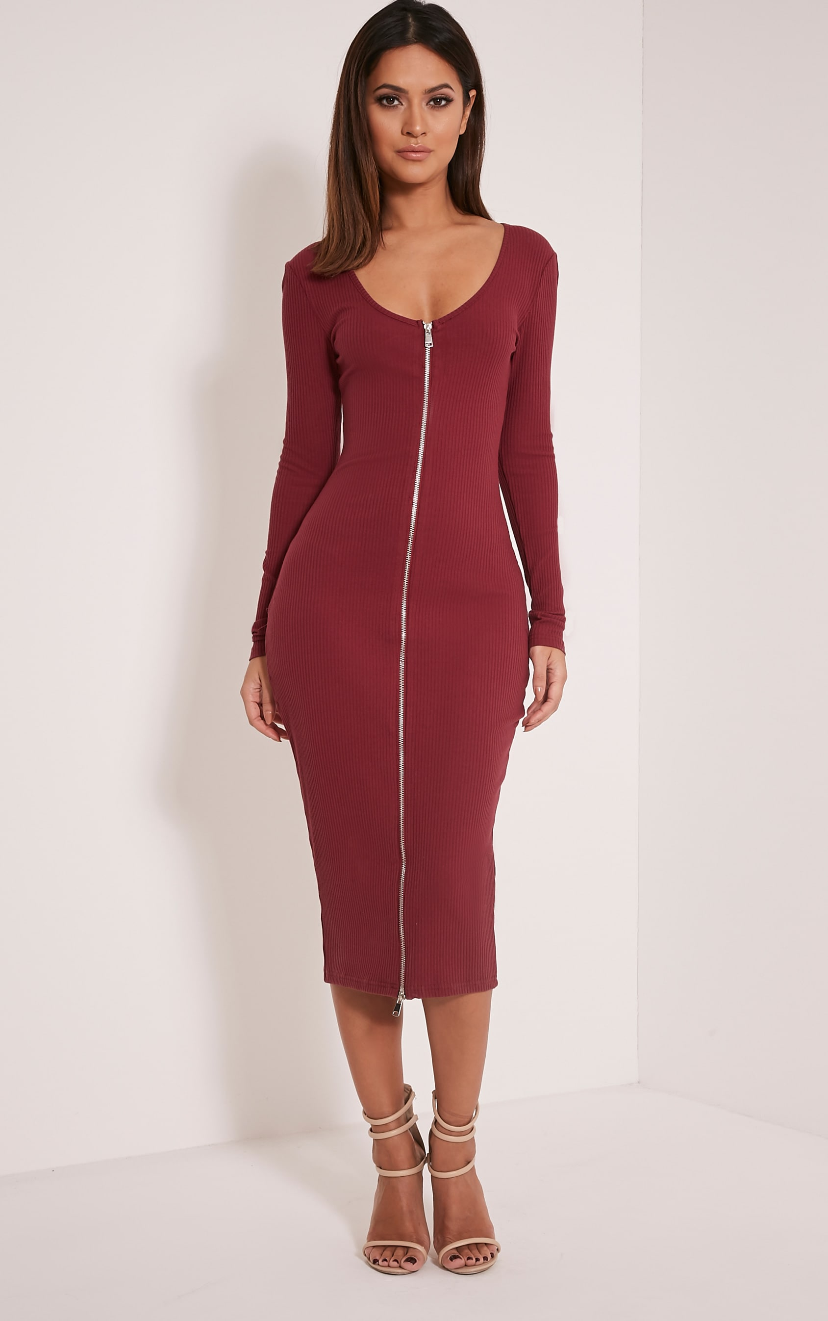 Jade Berry Long Sleeve Zip Detail Midi Dress 1