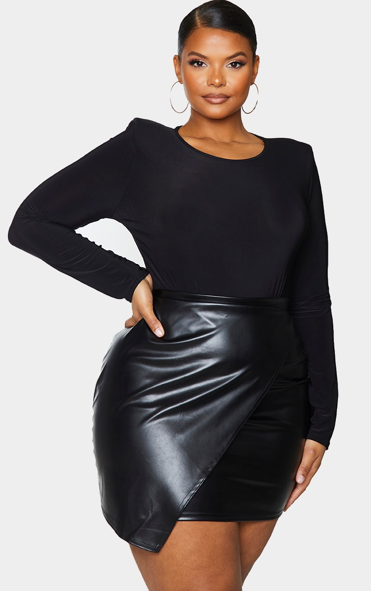Plus Luisa Black Faux Leather Wrap Mini Skirt 4