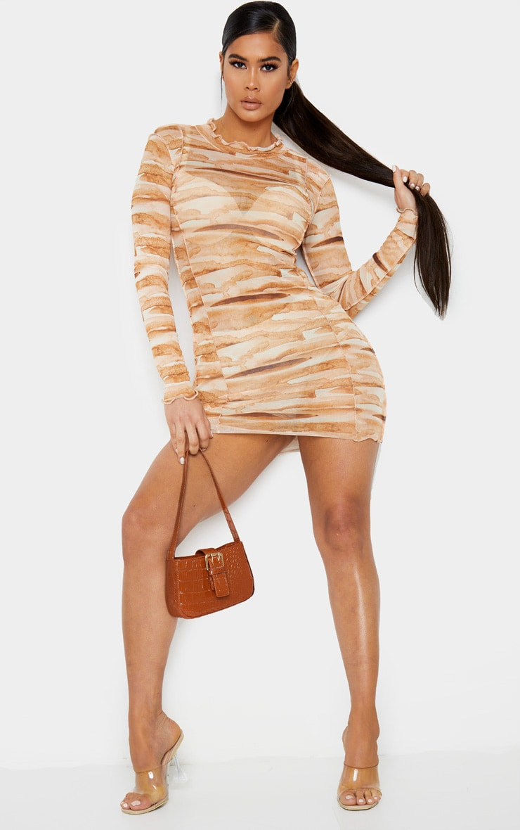 Tan Tie Dye Mesh Frill Edge Detail Bodycon Dress 4