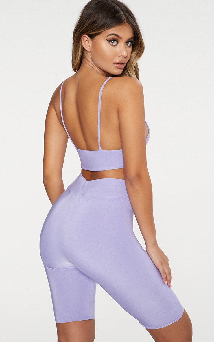 Lilac Slinky Triangle Crop Top  3