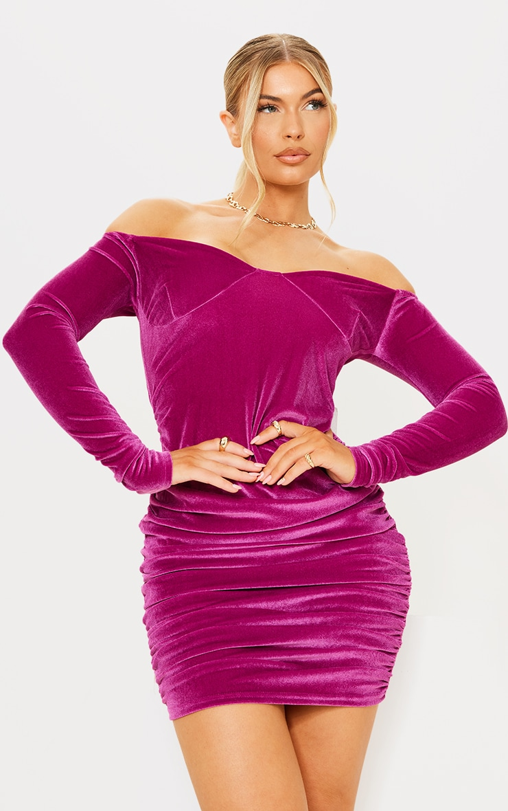 Pink Velvet Cup Detail Bardot Bodycon Dress 1